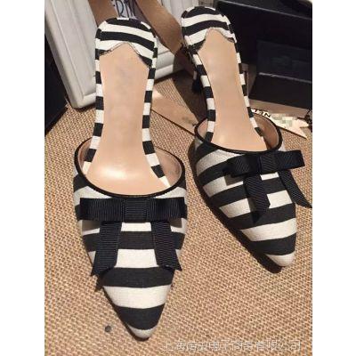 欧美时尚条纹印花布蝴蝶结套趾拖鞋 真皮高跟女式凉拖