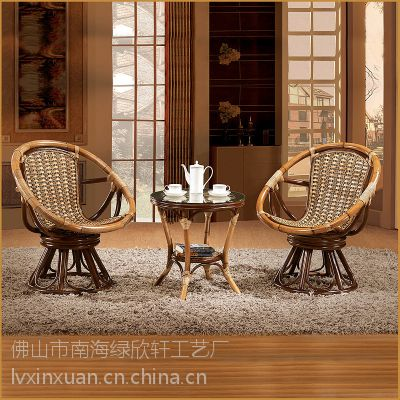 北京藤木家具厂家直销 藤椅茶几三件套 转椅休闲椅真藤 藤制阳台桌椅组合 户外家具9008
