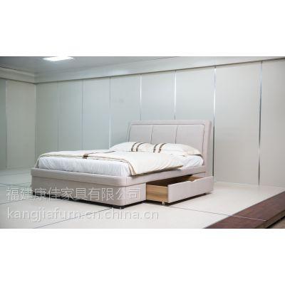 曜月简约现代双抽屉床布艺软体床