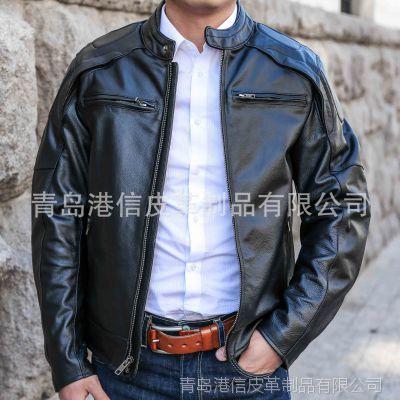 一件代发2015秋冬季新款男式时尚商务牛皮真皮皮衣夹克外贸原单