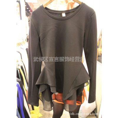 供应韩国东大门女装雪纺拼接裙摆式女式T恤长袖打底衫批发 3A45
