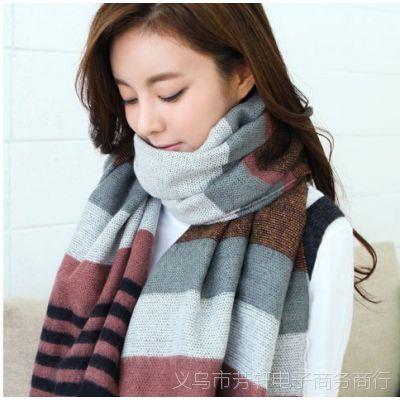 2014新款韩版冬季仿羊绒大围巾 女士条纹款流苏披肩860