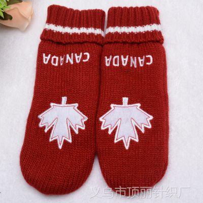 高档定制刺绣手套 冬季双层加厚摇粒绒里衬手套 手工接指手套批发