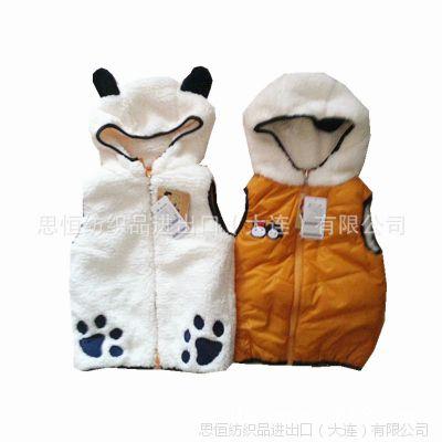 外贸韩国大牌男女童棉马甲 儿童秋冬新款棉衣 两面穿原单童装批发