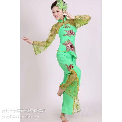 厂家直销纱袖民族秧歌服演出服扇子舞腰鼓秧歌舞蹈服装女表演服饰
