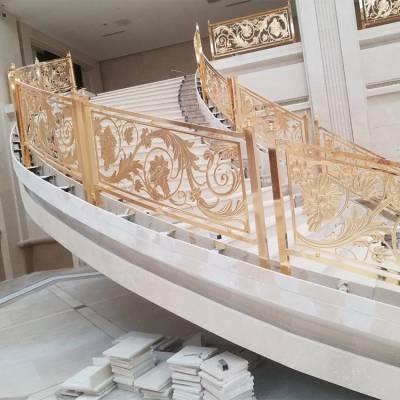 国标铝板系列雕刻护栏产品 豪华弯形铝护栏订做