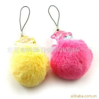 供应毛毛球包包手袋挂件 毛尾巴手机吊饰 多彩兔毛球 颜色可染DS