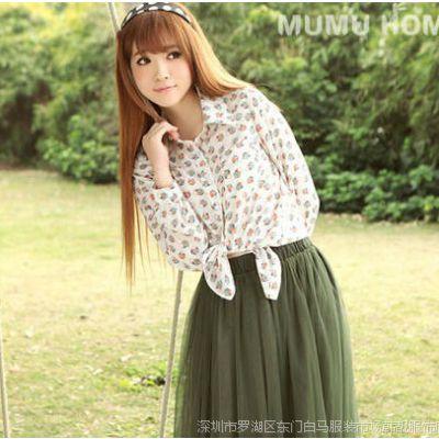 女装批发 韩国甜美可爱蛋糕花色翻领宽松长袖衬衫 女 3304
