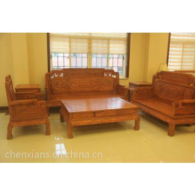 供应贵州贵阳红木家具店 缅甸花梨木国色天香沙发 港龙古典家具