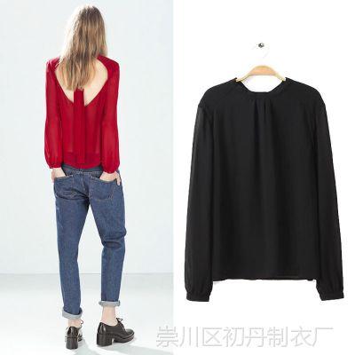 JBB欧美风春夏新款女装批发性感露背镂空系带纯色长袖衬衫女T恤