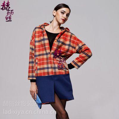 2015年新款高端淑女 女士格子羊绒大衣
