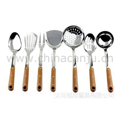 【厂家供应】三钉柄厨具 锅铲 铲勺 漏勺 不锈钢 厨具套装 烹饪勺