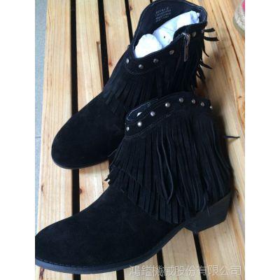 2014工厂直销一手货源外贸鞋批发流苏牛皮舒适短靴子低跟真皮女靴
