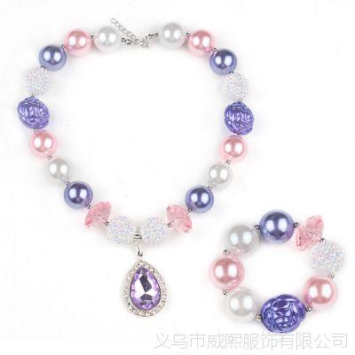 紫色水滴水晶吊坠串珠项链手链套装 波西米亚拼色短款女童项链