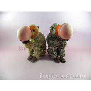 供应椰贝坊工艺厂贝壳动物生肖猴子/海螺动物捧桃猴