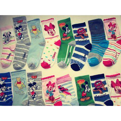 供应全棉大童袜批发 迪士尼儿童纯棉袜子 库存卡通袜子批发 3-15岁