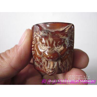 古玩杂项 手工雕刻 牛角工艺品  狼头扳 戒指 批发定制热卖正品