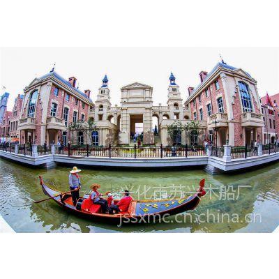 7m景区贡多拉观光船 贡多拉装饰木船 欧式手划船 公园休闲旅游船