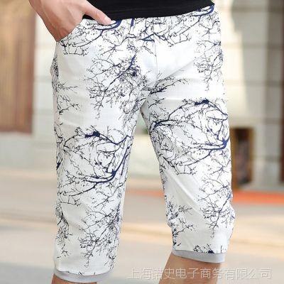 中国风新款印花男士休闲裤松紧裤腰男式五分裤中裤潮一件代发
