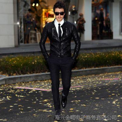 韩版男士皮衣 韩国进口绵羊男式真皮皮衣外套短款双拉链 机车款