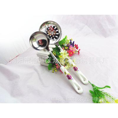 供应骨瓷花色贵妃花陶瓷柄厨具 陶瓷单支不锈钢汤勺 漏勺批发