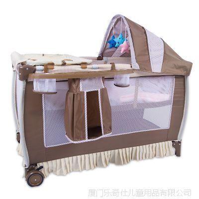 欧式进出口多功能双层婴儿游戏床BB儿童床***折叠婴儿童床批发床