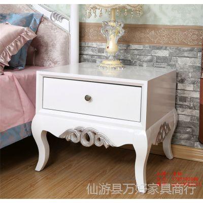 欧式床头柜 单个抽屉 新古典实木床头柜 环保 卧室白色床头柜现货