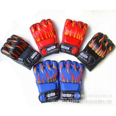 速腾火焰MMA综合格斗手套 半指拳击散打手套 露五指打沙袋拳套