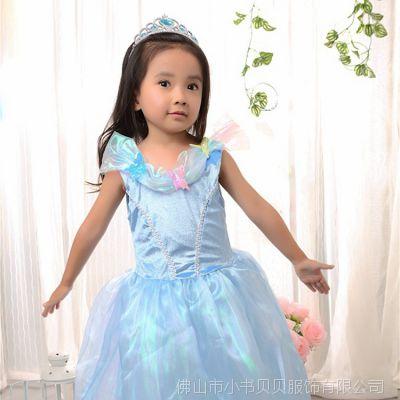 冰雪奇缘欧美外贸公主中大童装 夏季灰姑娘女童连衣裙厂家直批