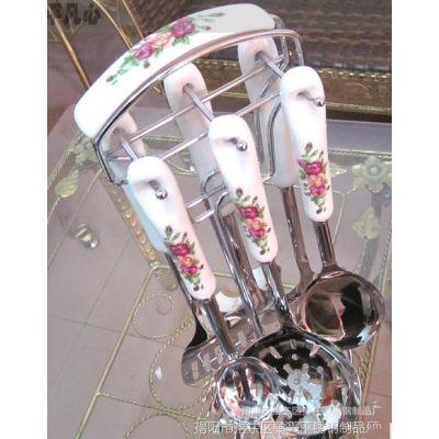 厨房用品加厚韩式高档陶瓷柄厨具骨瓷不锈钢七件套装餐具多种花色