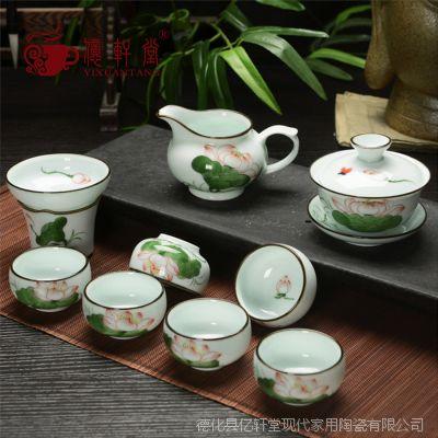 龙泉青瓷手绘荷花功夫茶具礼品批发窑变日式陶瓷玲珑三才盖碗大号