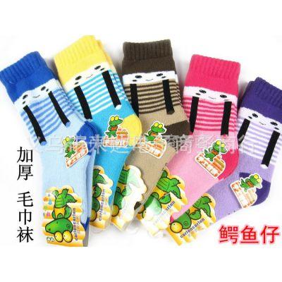 供应鳄鱼仔冬季袜/卡通儿童毛圈袜/背带中筒毛巾袜/手工对目缝头袜