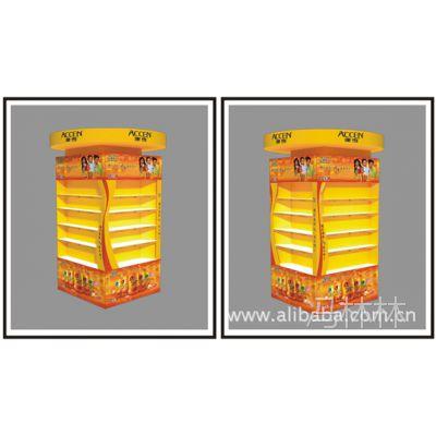 深圳厂家商场包柱展示柜展示架形象柜和堆头架吊旗灯箱亚克力货架