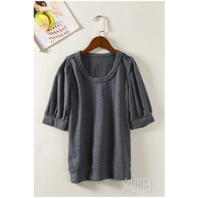 日韩外贸原单批发尾货出口成衣女装夏圆领五分袖T恤打底衫D831