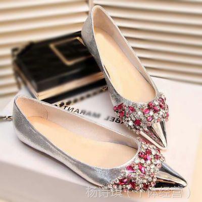 外贸春季时尚水钻韩国版高端里外真皮鞋性感尖头优雅舒适女平底鞋