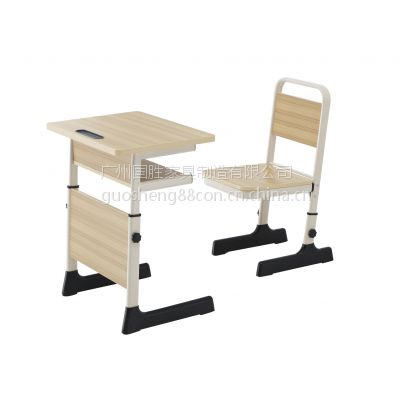 学生升降课桌椅 单层豪华靠背椅 升降课桌椅 单人双柱大中小学学生课桌椅