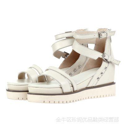 2014夏季新款欧美爆款坡跟真皮凉鞋新潮款女鞋批发免费加盟