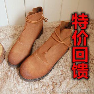 擦色牛皮森林文艺木纹粗跟短靴马丁靴 复古做旧英伦风森女鞋 特价