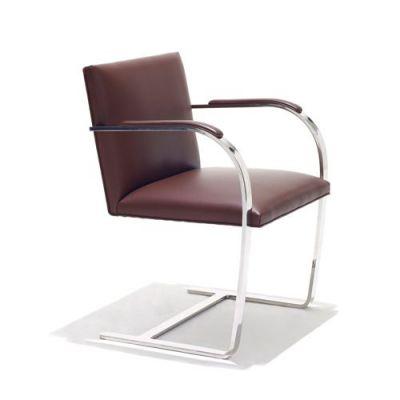 供应深圳纳维亚布尔诺椅子,304不锈钢真皮休闲餐椅子Brno Flat Chair
