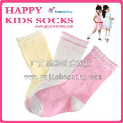 供应时尚百搭彩色纯棉女童袜,厂家批发生产纯棉童袜