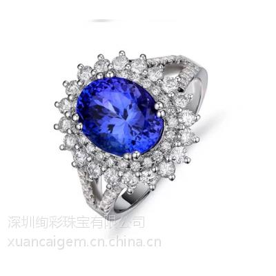 绚彩珠宝供应戴妃款坦桑石戒指,定制加工宝石戒指,18K金坦桑石男戒