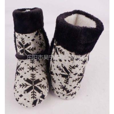 供应冬季新款雪花图案针织羊绒室内保暖居家棉鞋