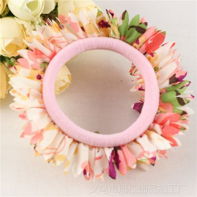 批发非洲菊碎花花边发圈高质量蕾丝花边高弹力皮筋 头饰发绳