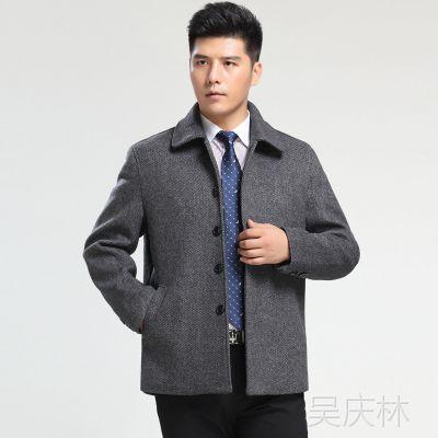 九牧王毛呢大衣男 秋冬中老年羊绒大衣中长款男商务上衣夹克外套