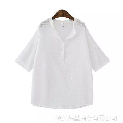 2015夏季新款日系时尚宽松大码小格子方领棉麻纯色短袖衬衫YHMT-H