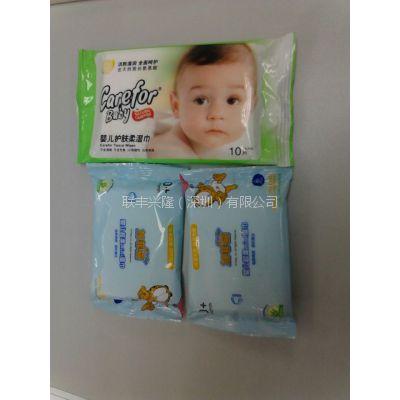 婴儿干湿两用巾oem 广东连抽交叉平纹纯棉干湿两用婴儿棉柔巾贴牌