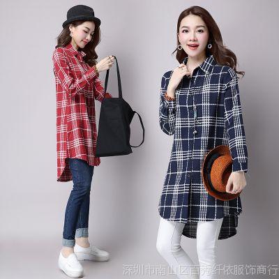 一件代发批发原创实拍2016秋装韩版格子麻棉显瘦修身女式衬衫