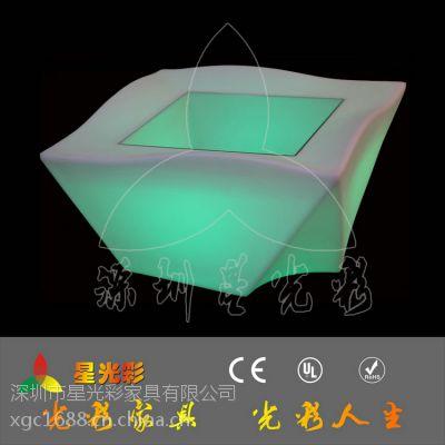 供应2014新款酒吧桌子 LED夜光茶几 4方LED桌子 花盆 发光家具厂家直销