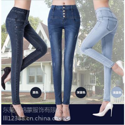 厂家直销低价女式牛仔服装的牛仔裤库存t恤批发10元服装批发市场牛仔裤清仓低价批发