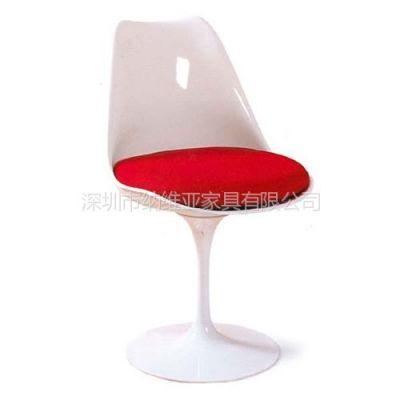 供应深圳纳维亚高级时尚经典全玻璃钢郁金香餐椅子Tulip Side Chair